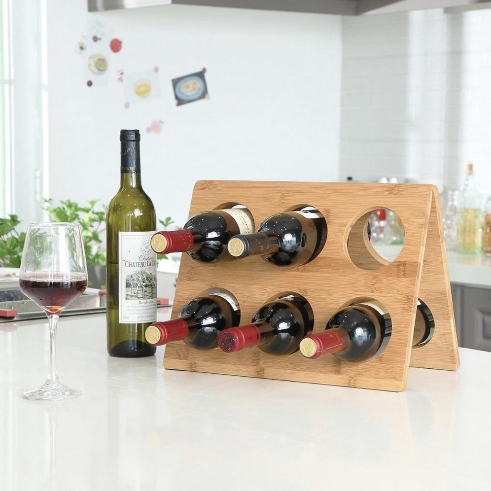 Design wijnrek van bamboe hout voor 6 flessen wijn