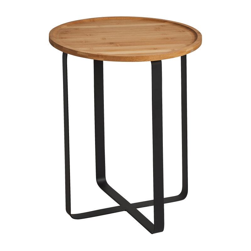 Bijzettafel rond bamboe/metaal - ø40x45 cm