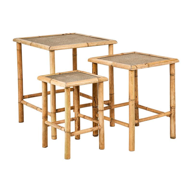 Bamboe bijzettafeltjes - set van 3