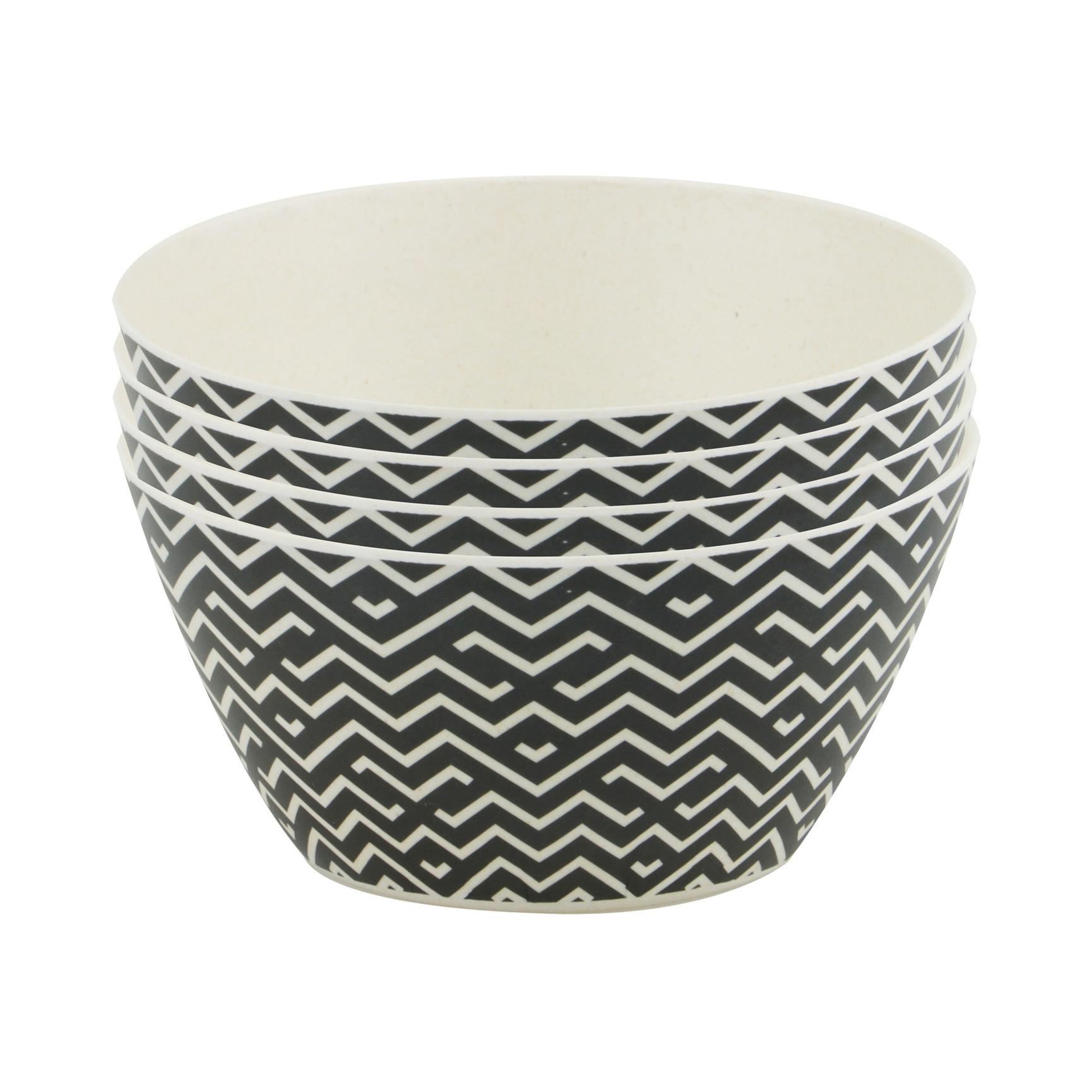 4x Bamboe schaaltjes/kommetjes zwart/wit 14 cm zigzag print - Maison Bleu - Milieuvriendelijk servies - Snacks/toetjes serveren - Schaaltjes/kommetjes van hout - Keukenbenodigdheden