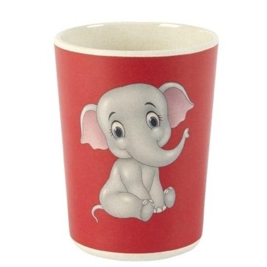 Bamboe drink bekers olifanten print voor kinderen/peuters 8 cm - Kinderservies - Milieuvriendelijk