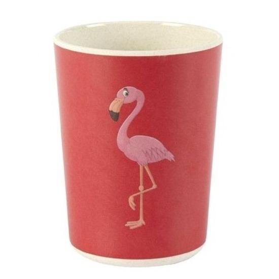 Bamboe drink bekers flamingo voor kinderen 8 cm - Kinder/peuters ontbijt servies - Milieuvriendelijk