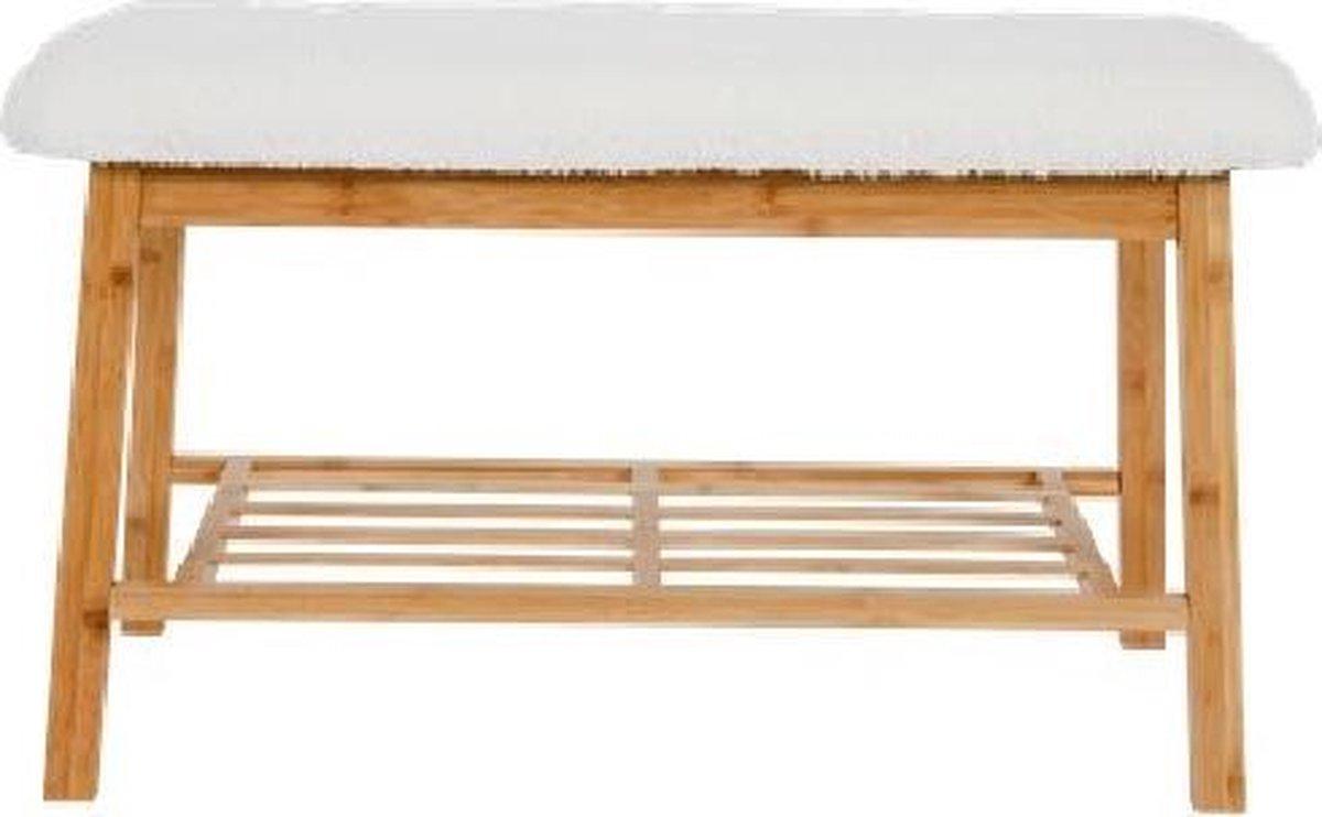 Bamboe Bank met (Imitatie) schapenvacht (90 x 34 x 45 cm)