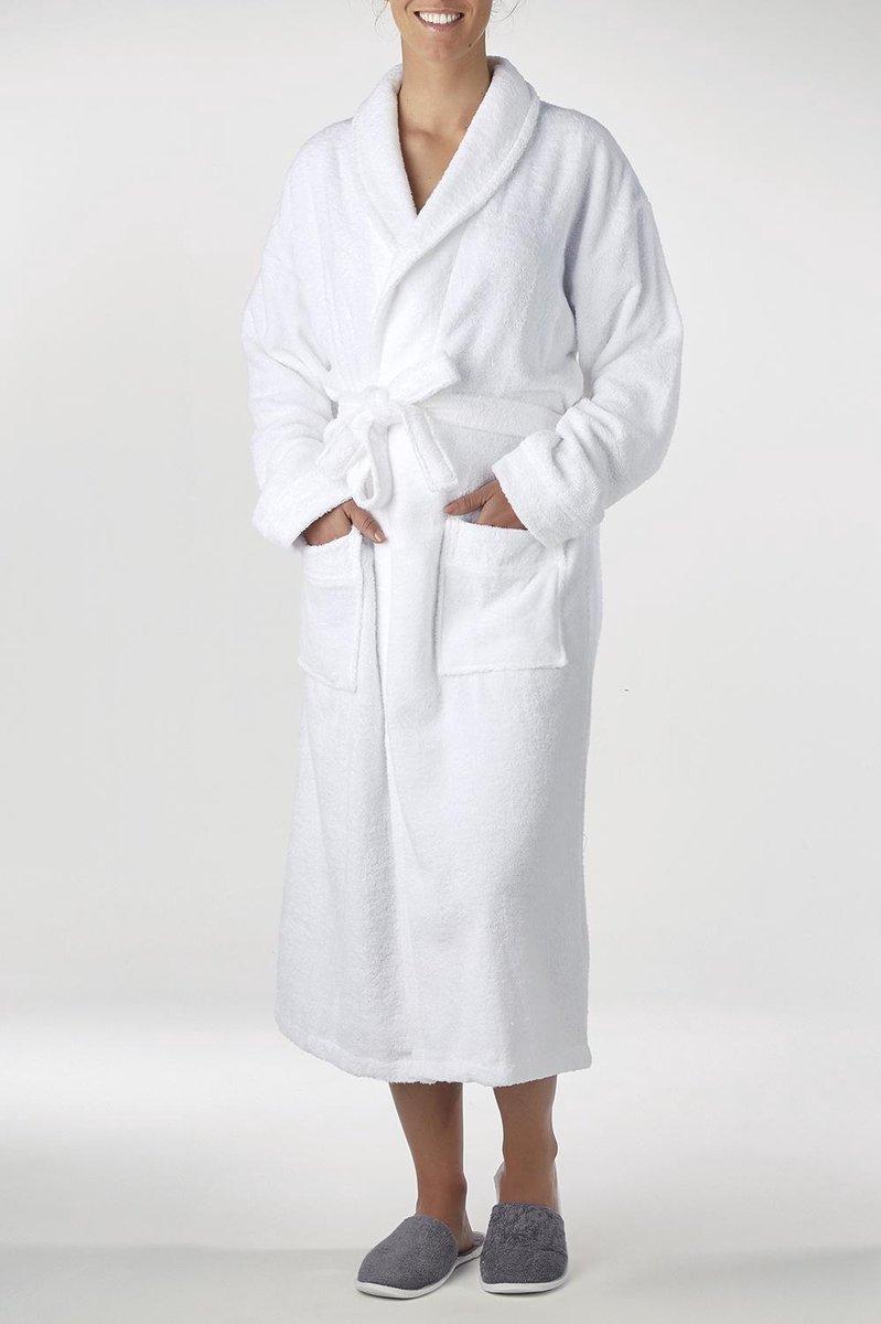 Bamboe Sauna Badjas Wit - Unisex Maat XXL - Dames / Heren / Unisex - Hotelkwaliteit - Badstof Badjas - Luxe Badjas - Ochtendjas - Duster - Sjaalkraag - Badmantel
