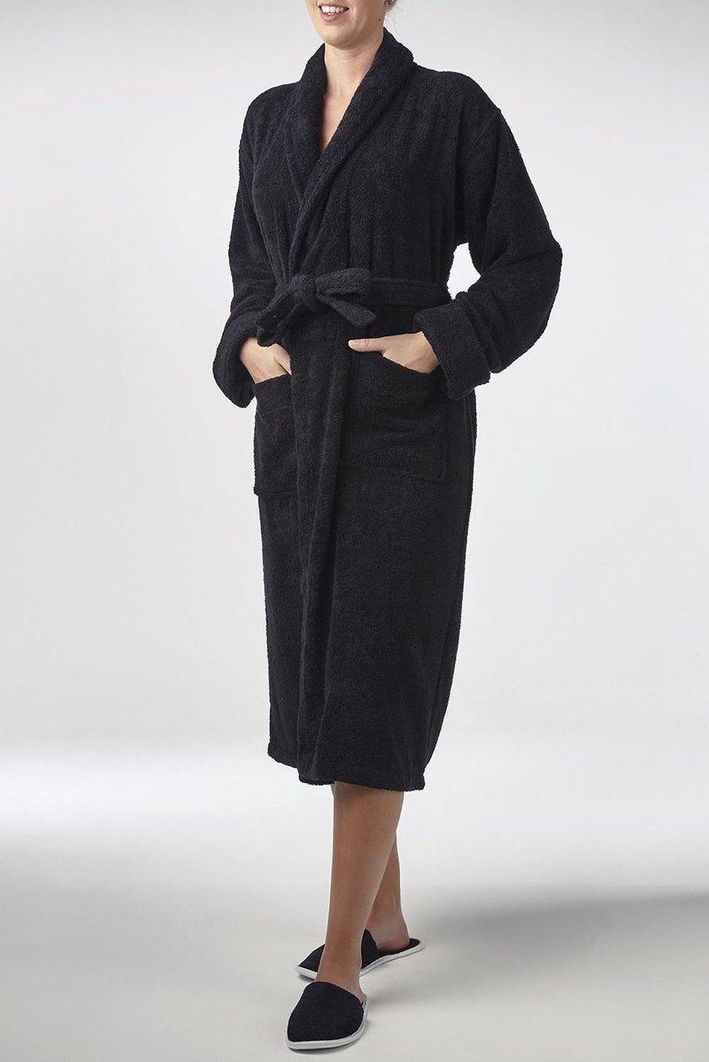 Bamboe Sauna Badjas Zwart - Unisex Maat S/M - Mouwlengte 65cm - Dames / Heren / Unisex - Hotelkwaliteit - Badstof Badjas - Luxe Badjas - Ochtendjas - Duster - Sjaalkraag - Badmantel