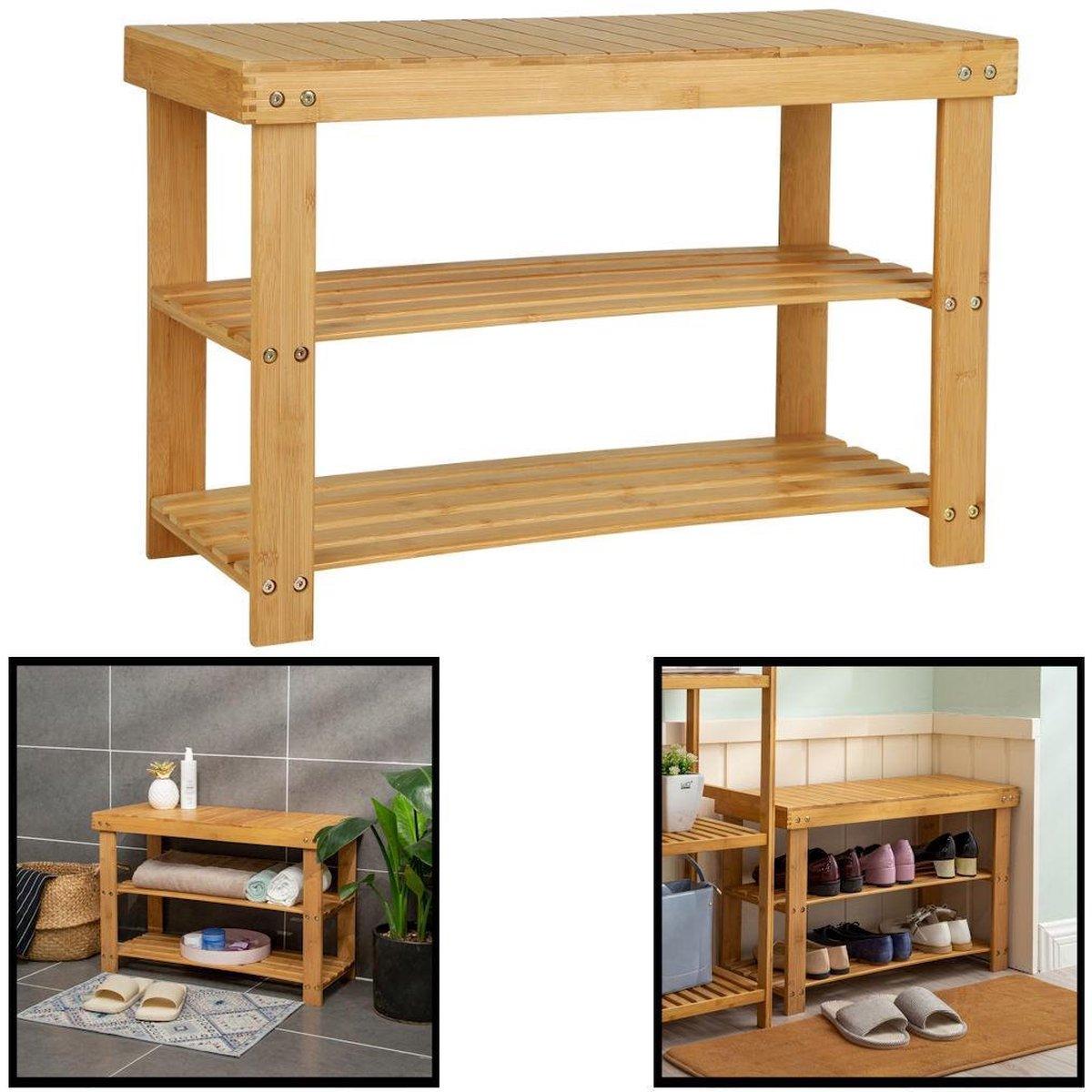 Decopatent® Schoenenrek bamboe hout - Voor 6 paar schoenen - 70 cm breed - 2 etages - Opbergrek met moderne uitstraling