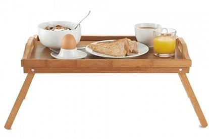 Ontbijt op bed dienblad_tafeltje hout 50 x 30 cm V&D