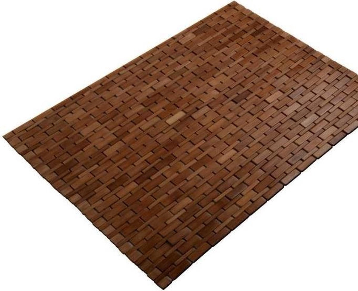 "TQ4U Bamboe badmat | sauna mat | 45 x 100 cm | antislip | kleur ""Honey"" | zeer mooi afgewerkt"