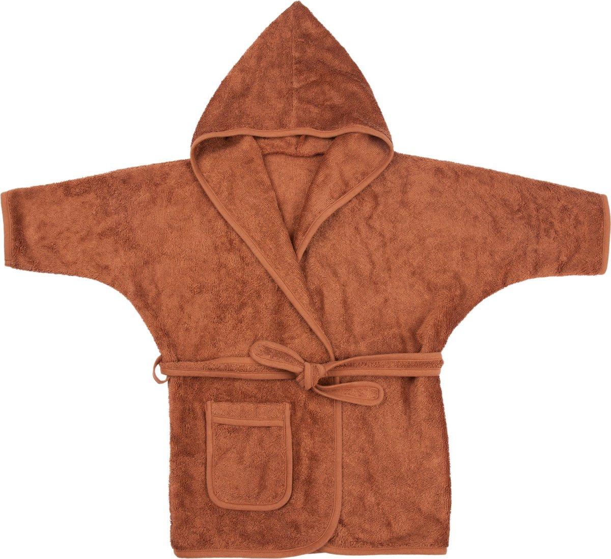 Timboo Badjas kind Hazel Brown 8/10 jaar - Bamboe - Extra zacht - Kinderbadjas - Hazelnootbruin