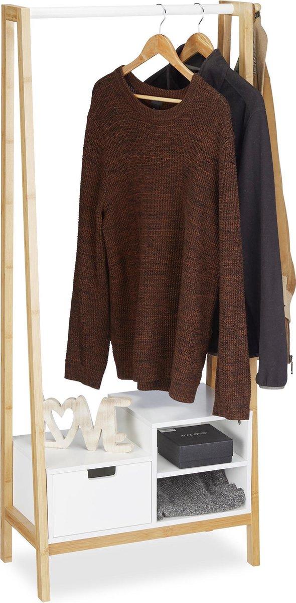 relaxdays garderoberek - kledingrek - kledingstandaard - bamboe - met lade - houtkleur