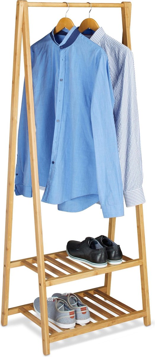relaxdays kledingstandaard bamboe, 2 planken kledingrek hout 60cm breed natuur