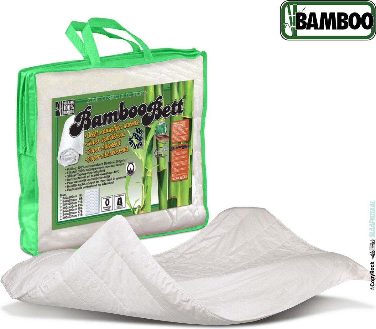 Bamboo Bett | Origineel zuiver bamboe zomerdekbed | Heerlijk koel en fris bamboe dekbed | Licht, soepel, absorberend, ventilerend zomer dekbed | Bamboe 140x220cm (Extra lang)