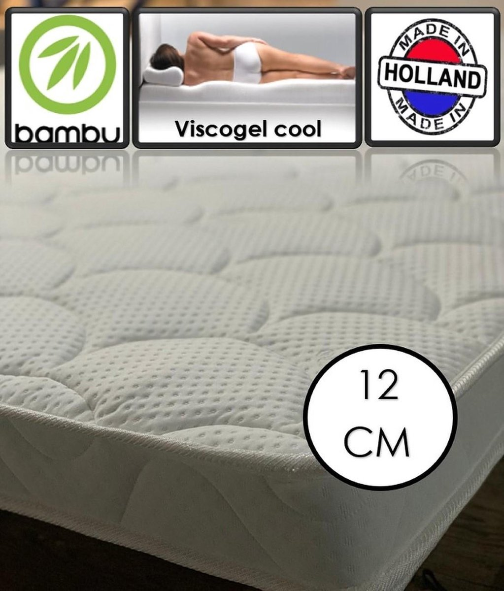 Bamboo Coolgel - Viscogel Topper - 12cm dik - 120x210