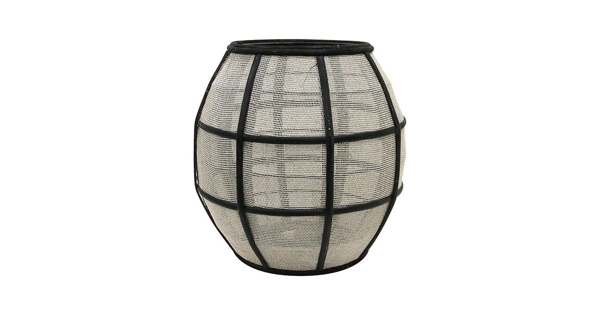 HKliving lantaarn bal bamboe met stof zwart naturel 29,5x29,5x30,5cm