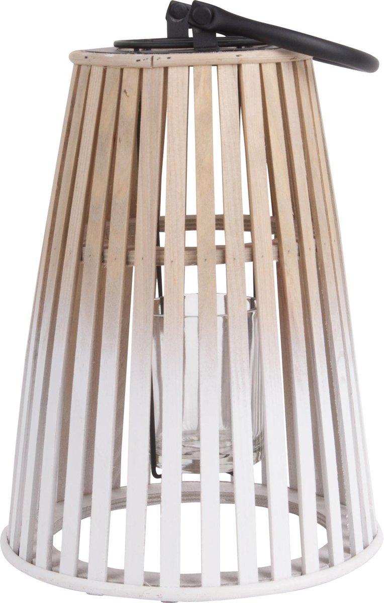 pt, (Present Time) Atmosphere - Windlicht - Bamboe - Ø 22x31 cm - Wit/Naturel