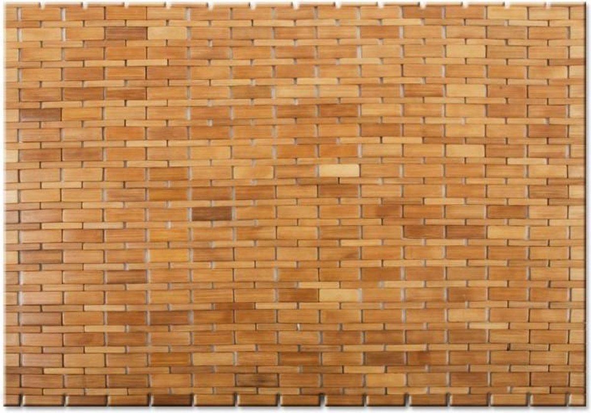 """TQ4U Bamboe badmat   sauna mat   45 x 80 cm   antislip   kleur """"Natural""""   zeer mooi afgewerkt"""