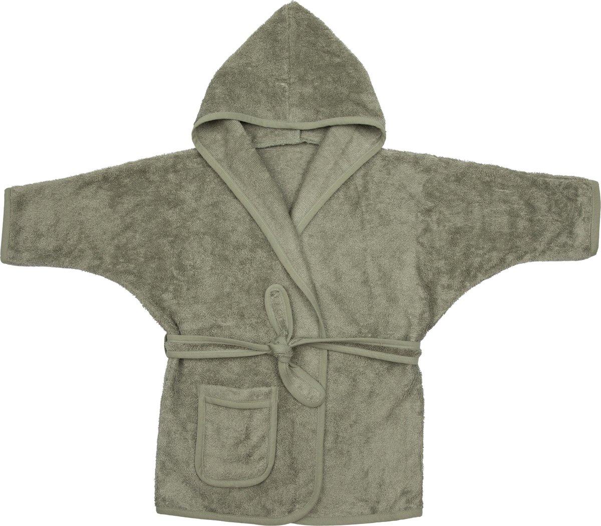 Timboo Badjas kind Whisper green 8/10 jaar - Bamboe - Extra zacht - Kinderbadjas - groen