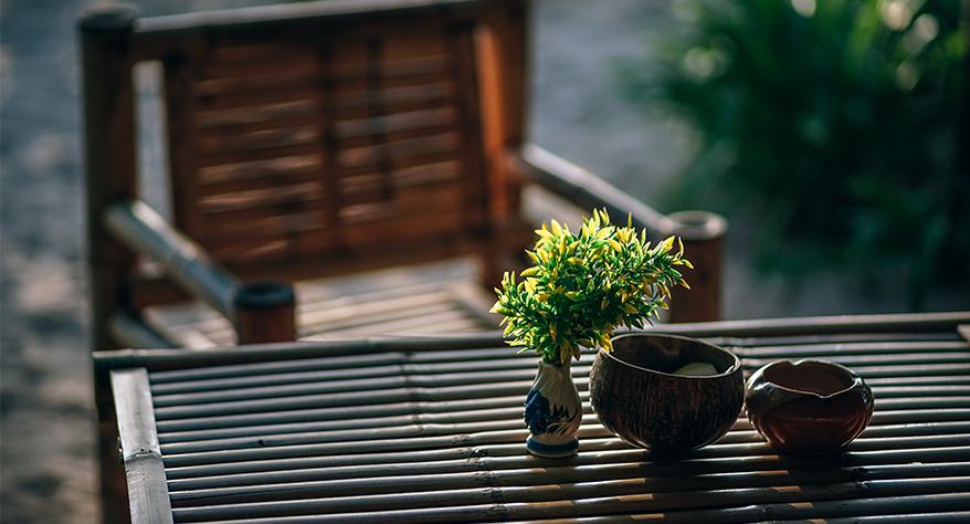 Bamboe loungeset in de tuin