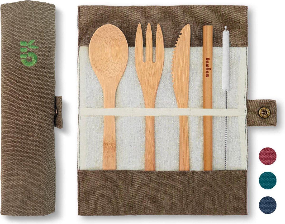 4-Delige Bamboe Bestekset | Olijf