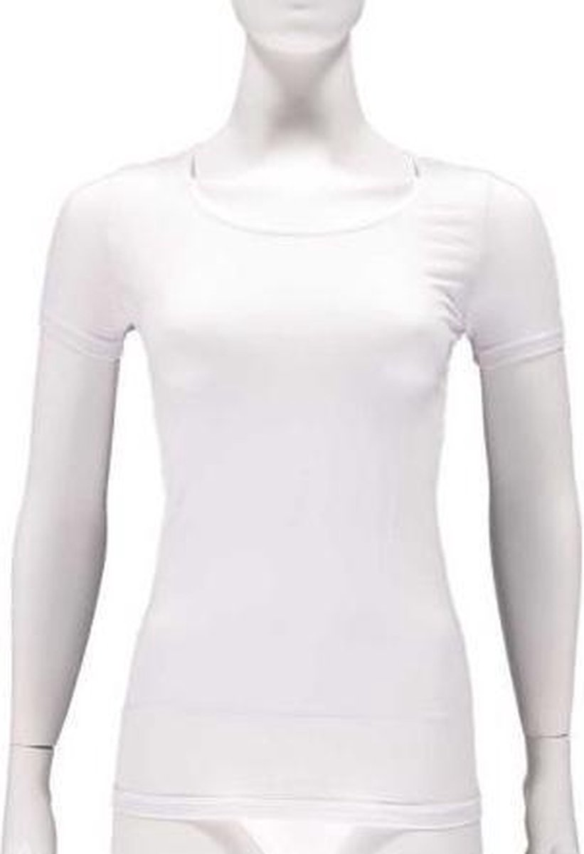 Apollo T-shirts Dames Bamboe Ronde Hals Wit 2 Stuks Maat L