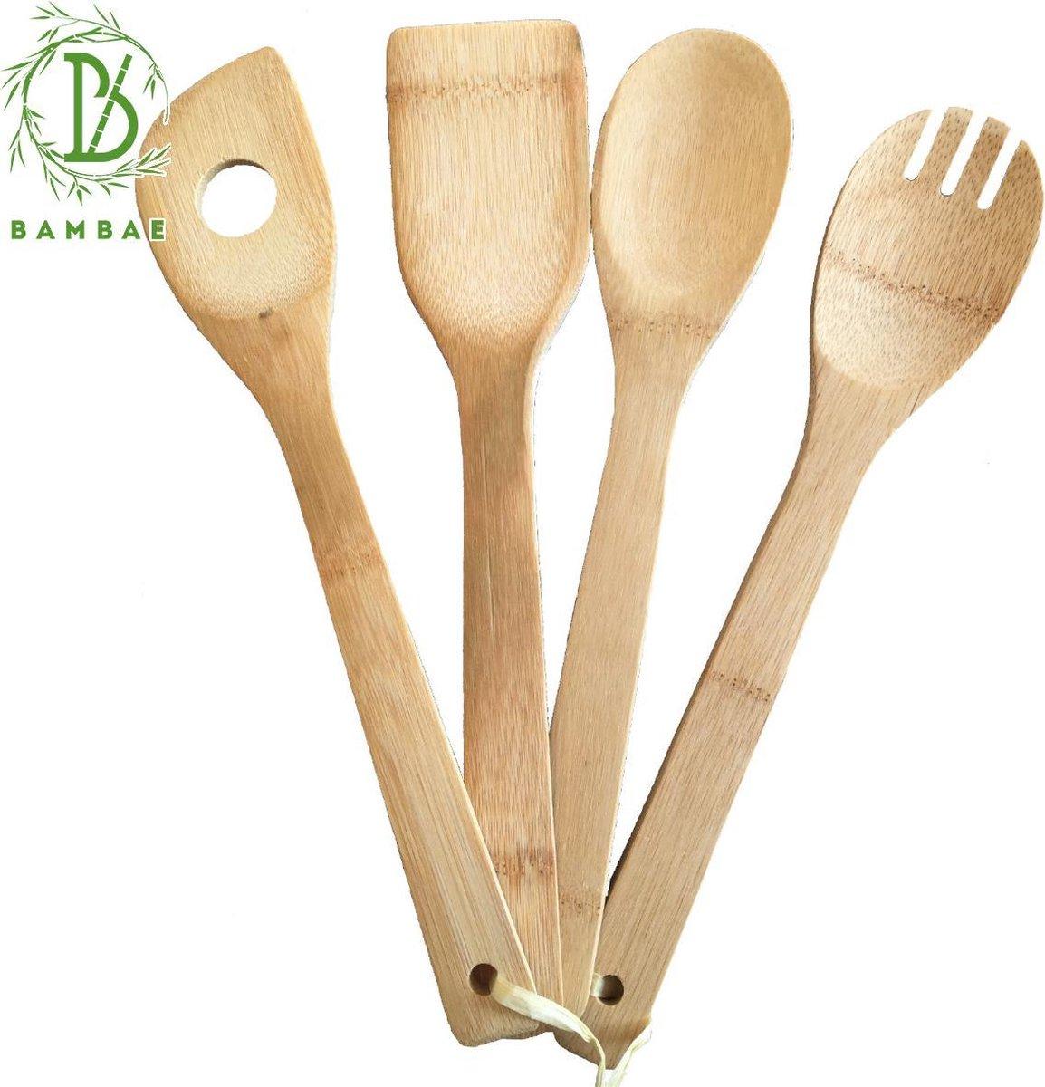 Bambae Keukengerei met Spatels en Pollepels van Bamboe - Opscheplepels Set - Barbecue Kookgerei - Duurzaam - Bestek - Eco - 4x