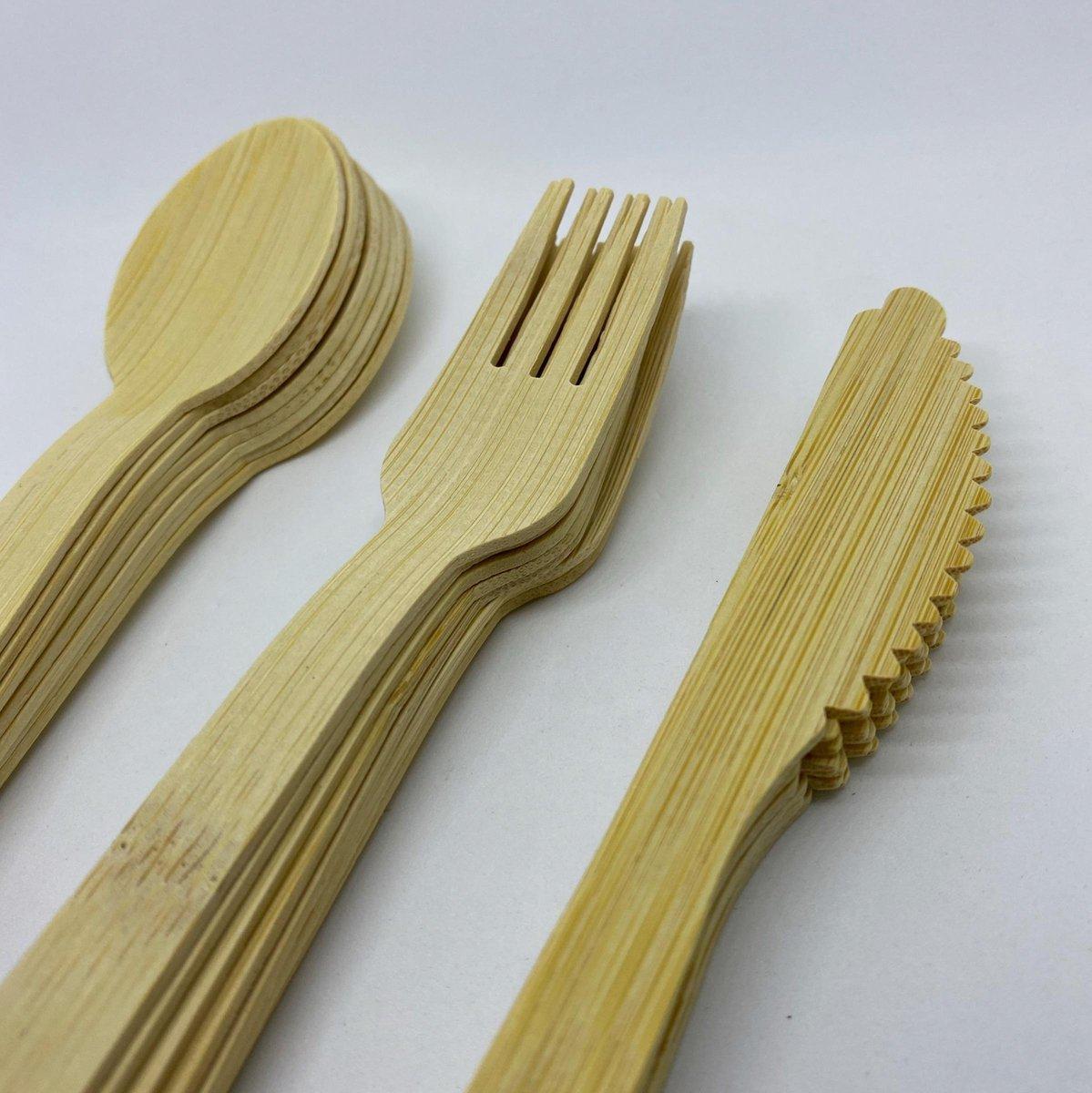 Bamboe Bestek - Bio Bestek (24 Pcs) Wegwerp bestek - Biologisch afbreekbaar - Milieuvriendelijk - 100% Bamboe