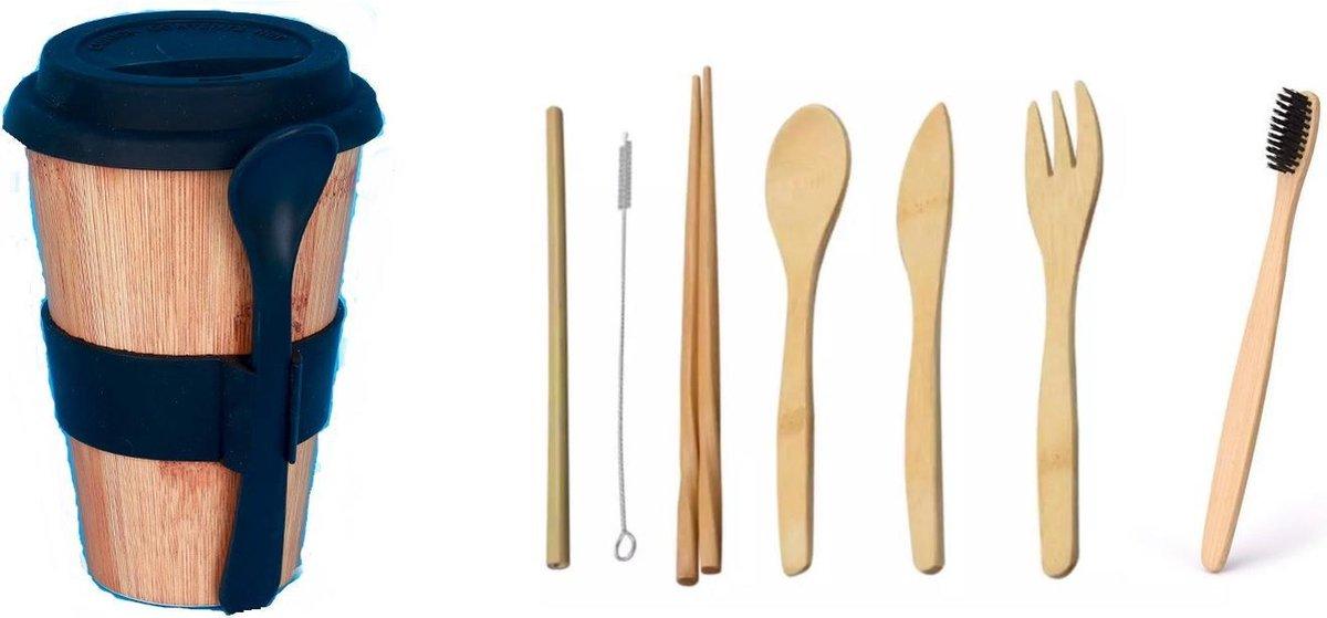 Bamboe Bestekset - Bamboe Tandenborstel-duurzame- MILEUVRIENDELIJKE BAMBOE BESTEK