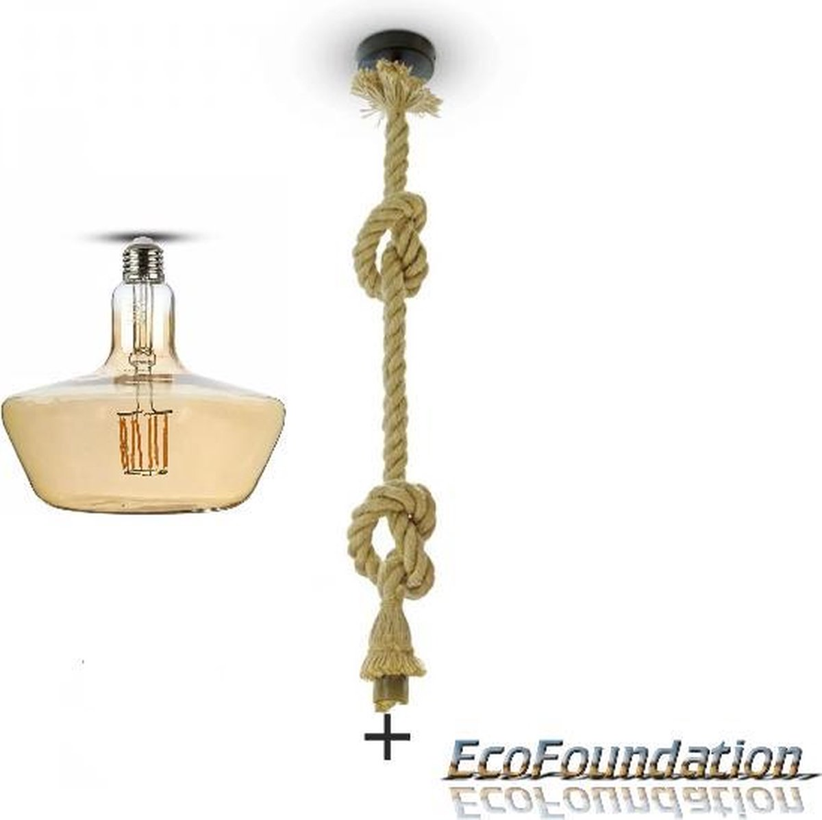 Bamboe-Touw hanglamp - 1,5 meter - E27 - Incl. design filament LED T180 in extra warm wit - 2200K