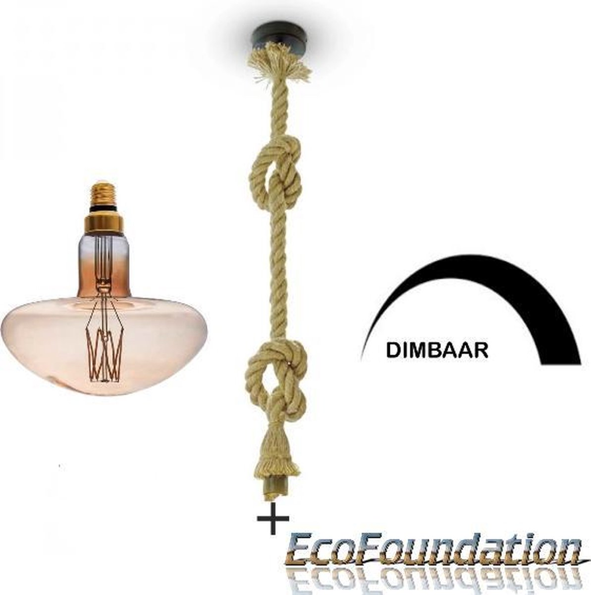 Bamboe-Touw hanglamp -1,5M-E27-Incl. Dimbare design filament LED MS200 in extra warm wit - 1800K