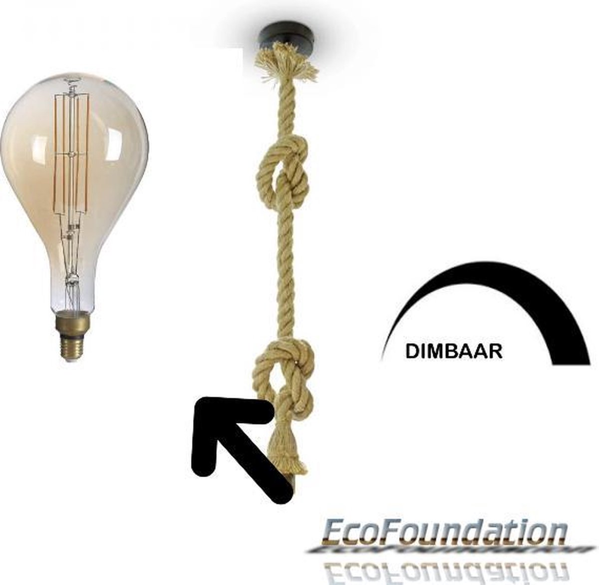 Bamboe-Touw hanglamp -1,5M-E27-Incl. Dimbare design filament LED PS160 in extra warm wit - 1800K