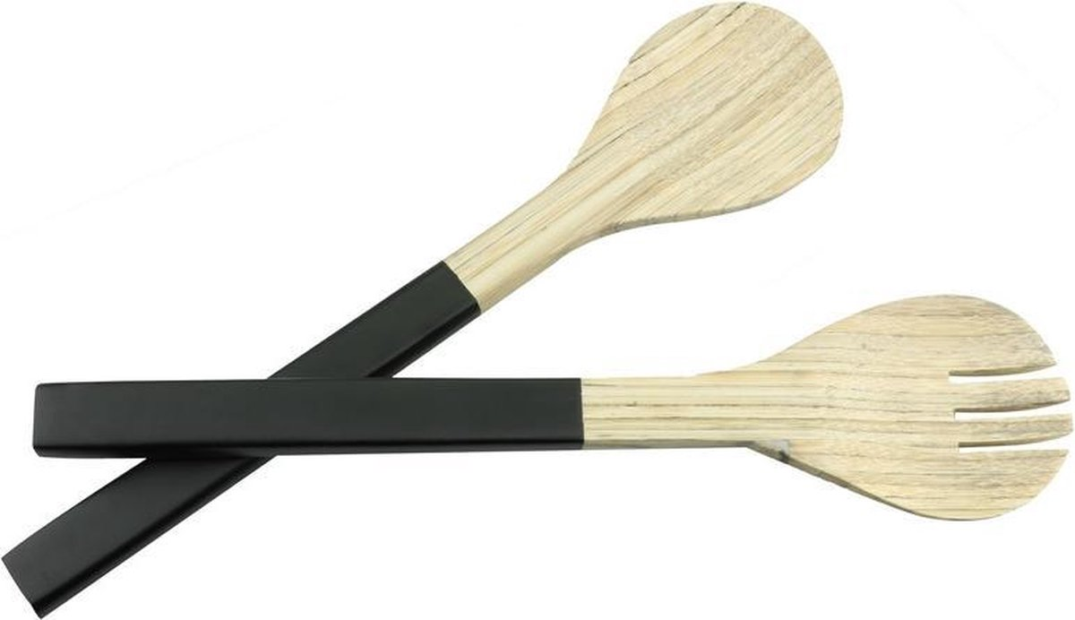 Bamboe sla bestek/couvert zwart 2 delig 30 cm - Salade/sla opscheplepels van hout - Sla lepel en vork - Keukengerei