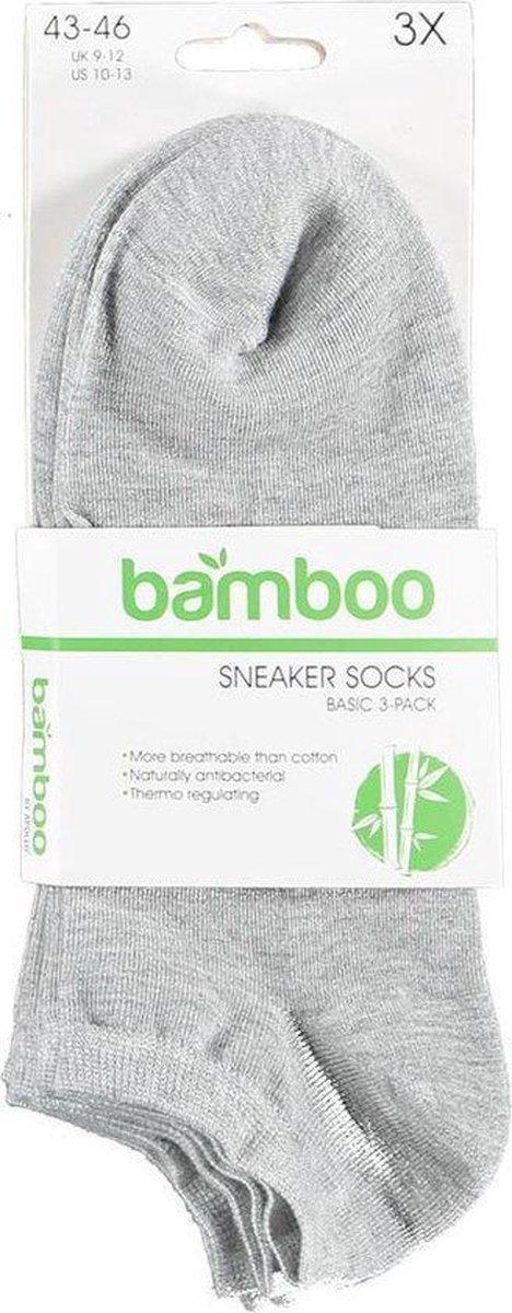Bamboe sokken sneaker 3 paar - Grijs - Bamboe Sokken Dames - Maat 35/38
