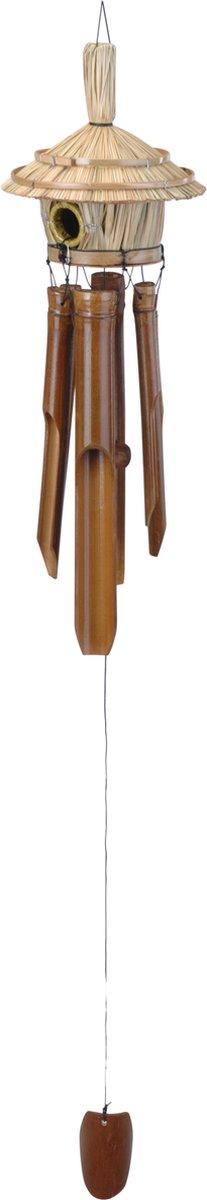 Bamboe windgong met vogelhuisje