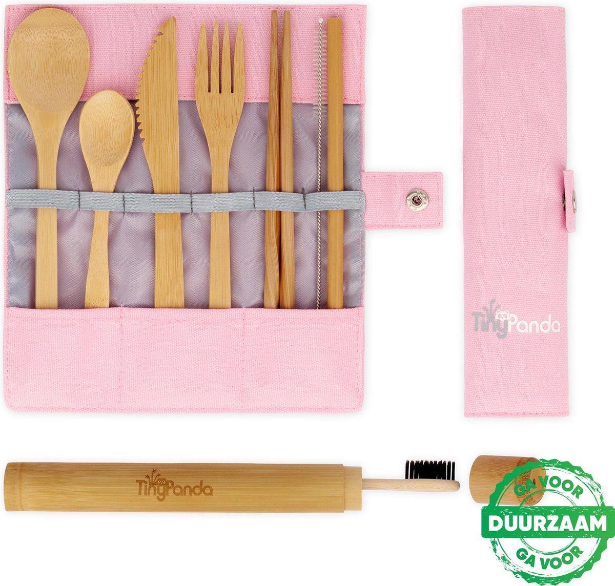 Bestek Set Roze van Bamboe met Bamboe Tandenborstel - Herbruikbaar Bamboe Servies - Camping Bestek - Bamboo Cutlery Set- Handig voor op reis - 10-delig met o.a. een herbruikbaar Bamboe Rietje
