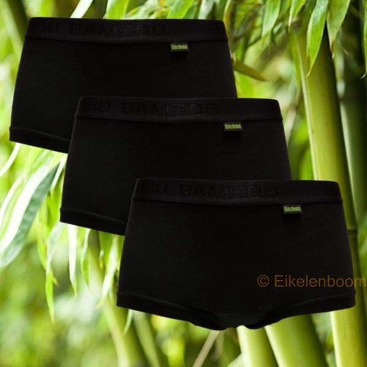 Boru Bamboe - Boxershort Dames - Zwart - 3 Pack - 3 stuks- Maat S