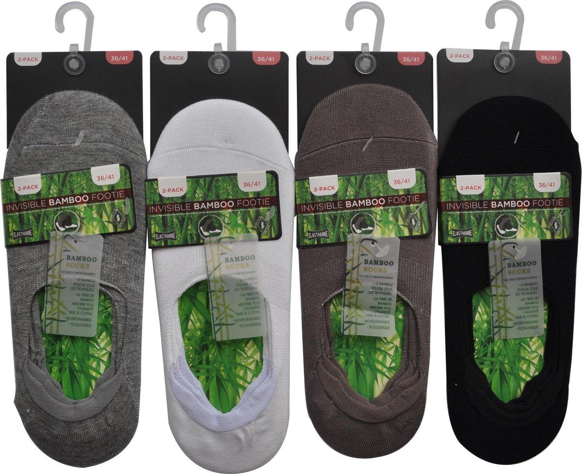 Dames invisible sneakersokken - 4 paar footie BAMBOO SOKKEN - maat 36/41 - NAADLOOS, met strechtband en anti-slip achteraan