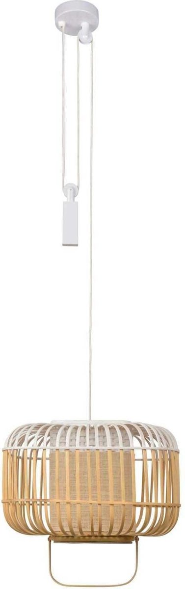 Forestier Bamboo Square Hanglamp Small White