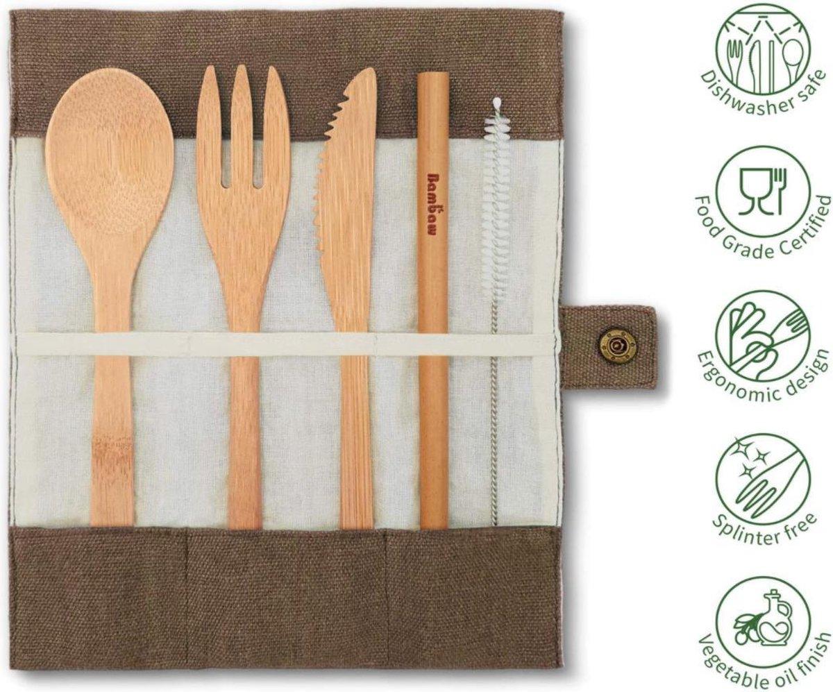 Herbruikbaar Bamboe Bestek Setje Camping Werk School Bamboo Cutlery Set