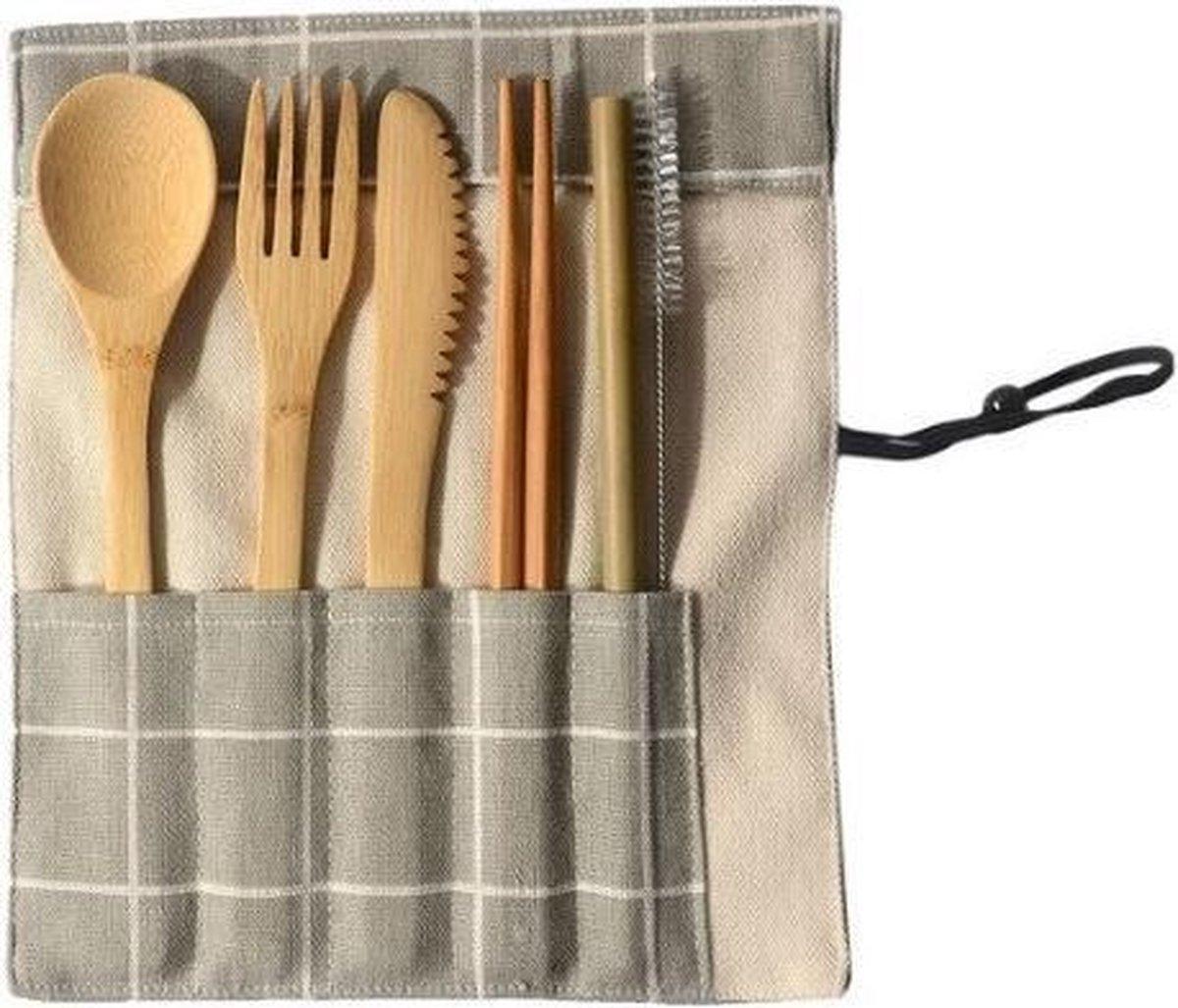 Luxe bamboe bestek set- 8 -delig - Milieuvriendelijk - 1 persoons - Servies - Herbruikbaar ♻