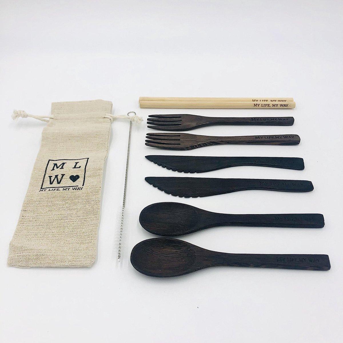 MLMW - Duurzame Bestekset ACACIA - 10 delig - Acacia Houten lepel, vork en mes - Bamboe Rietjes met schoonmaakborstel - Handgemaakt - Uniek - Duurzaam - 100% Natuurlijk - Inclusief linnen zakje - Donkerbruin