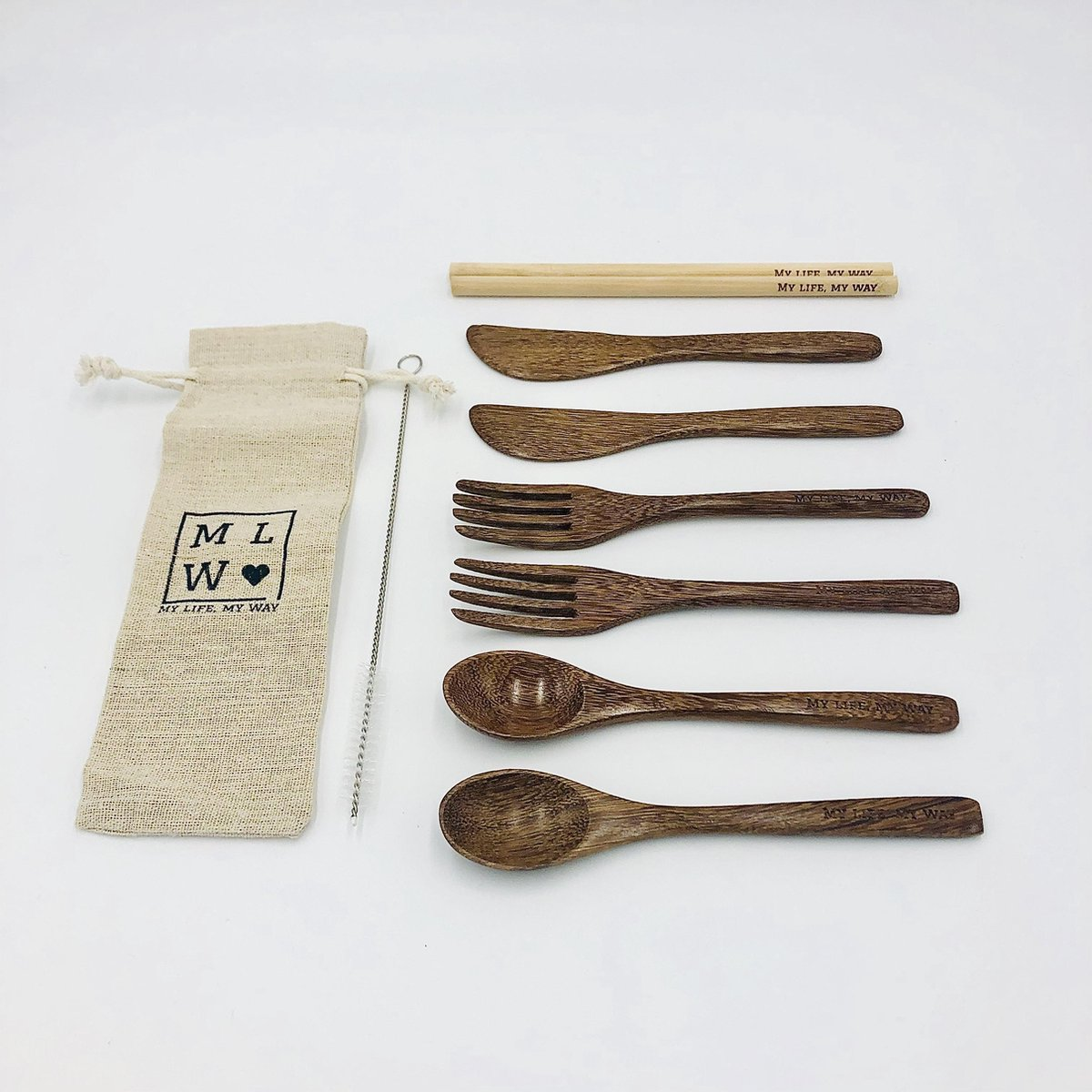MLMW - Duurzame Bestekset WENGE - 10 delig - Wenge Houten lepel, vork en mes - Bamboe Rietjes met schoonmaakborstel - Handgemaakt - Uniek - Duurzaam - 100% Natuurlijk - Inclusief linnen zakje - Bruin