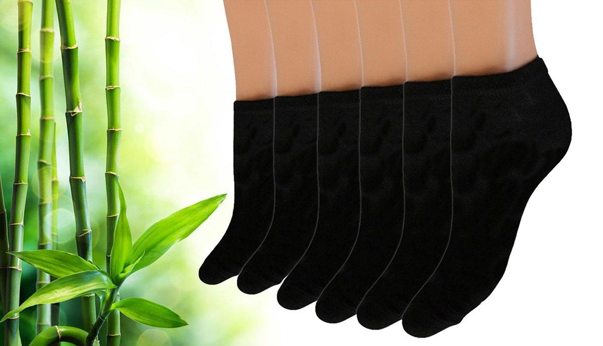 Pierre Calvini - Bamboe Sokken Dames - 12 Paar - Sneakersokken Dames - Zwart - Maat 36-40