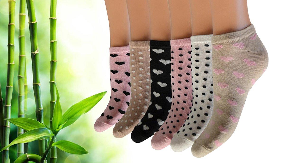 Pierre Calvini - Bamboe Sokken Dames - 6 Paar - Sneakersokken Dames - Stippen/Hartjes Licht - Maat 36-40