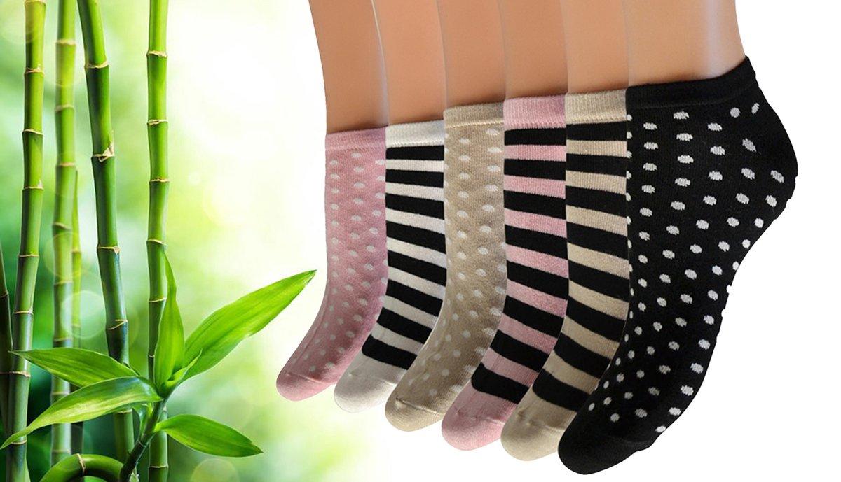 Pierre Calvini - Bamboe Sokken Dames - 6 Paar - Sneakersokken Dames - Stippen/Strepen Licht - Maat 36-40