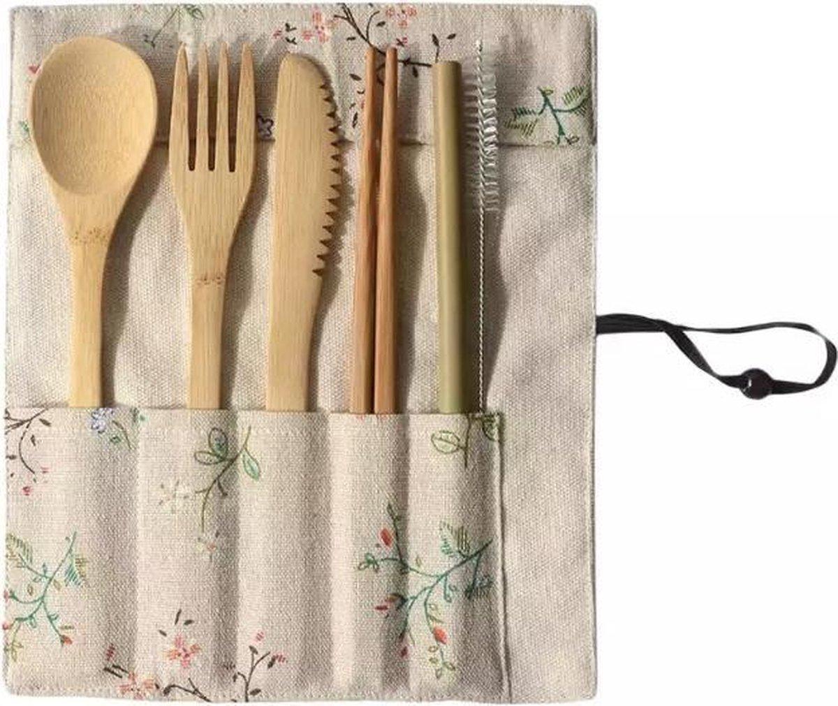 SALE!!! - Bamboe bestekset - Reisbestek - Reizen - Voor Onderweg - Camping Bestek - Plant Print