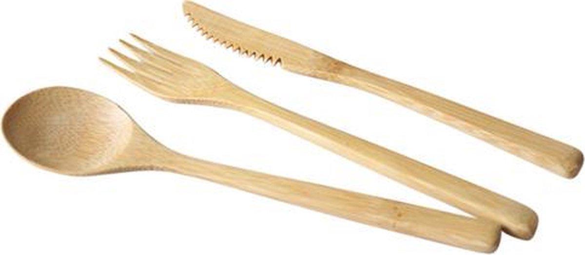 Set Bamboe Bestek in Mooi Hoesje | Vork Lepel Mes