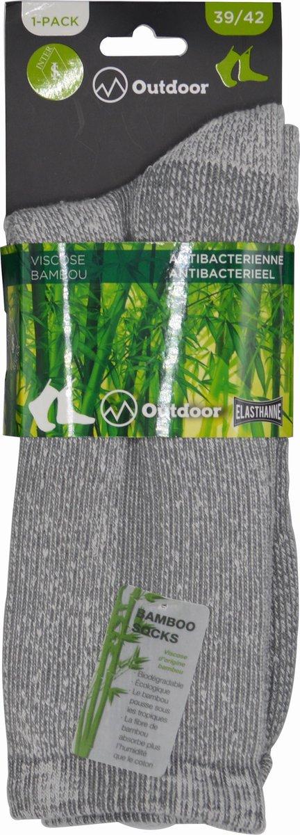 Wandelsokken Heren - OUTDOOR- 43/46 - naadloos - 2 PAAR - BAMBOO - beige chaussettes socks