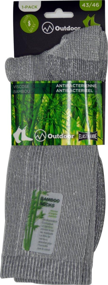 Wandelsokken Heren - OUTDOOR- 43/46 - naadloos - 2 PAAR - BAMBOO - grijs chaussettes socks