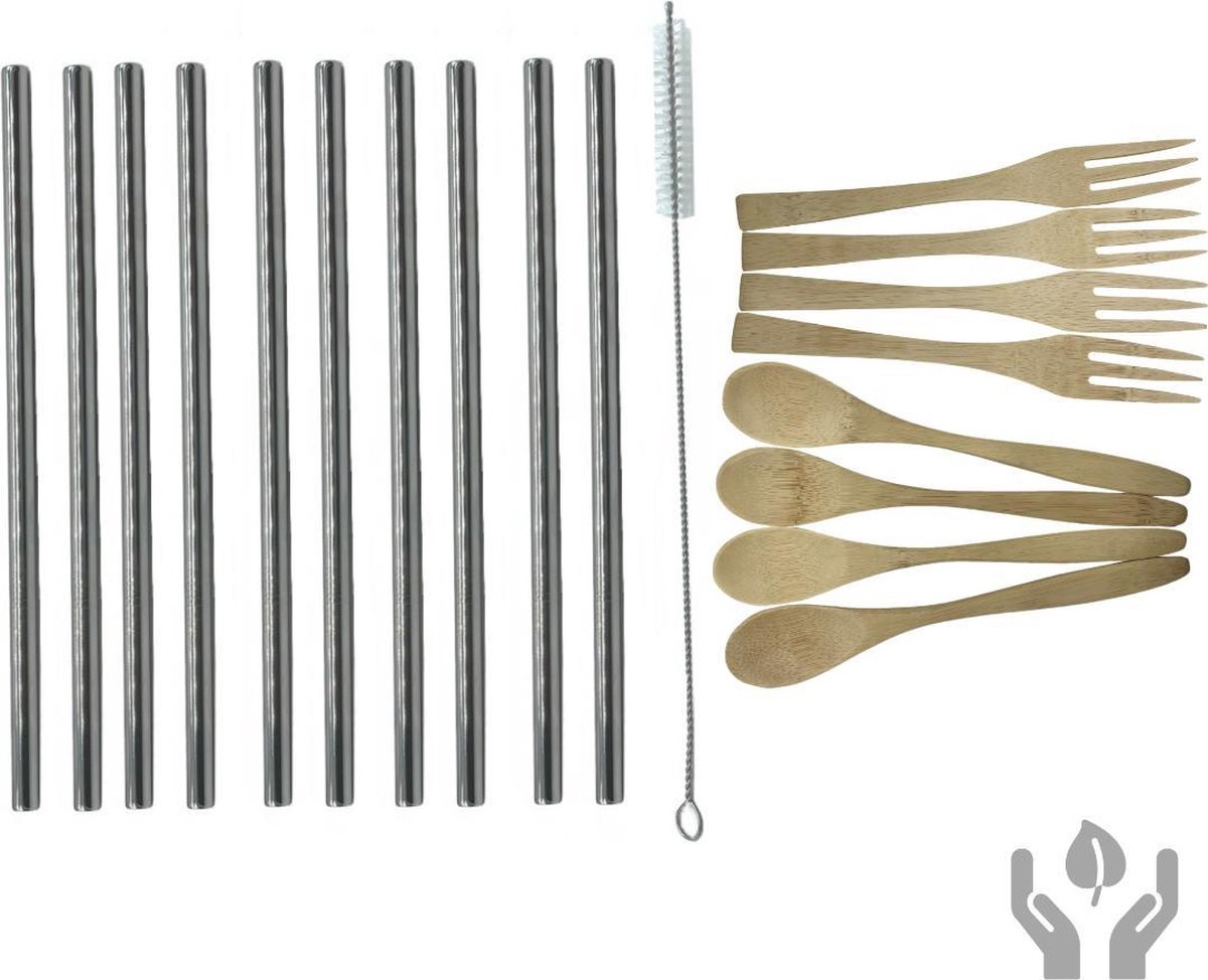 green-goose® Bamboe Bestek en Drink Set | 4 x Lepel en 4 x Vork | 10 x Metalen Rietjes | Schoonmaakborstel | Herbruikbaar Bestek | Herbruikbare Rietjes