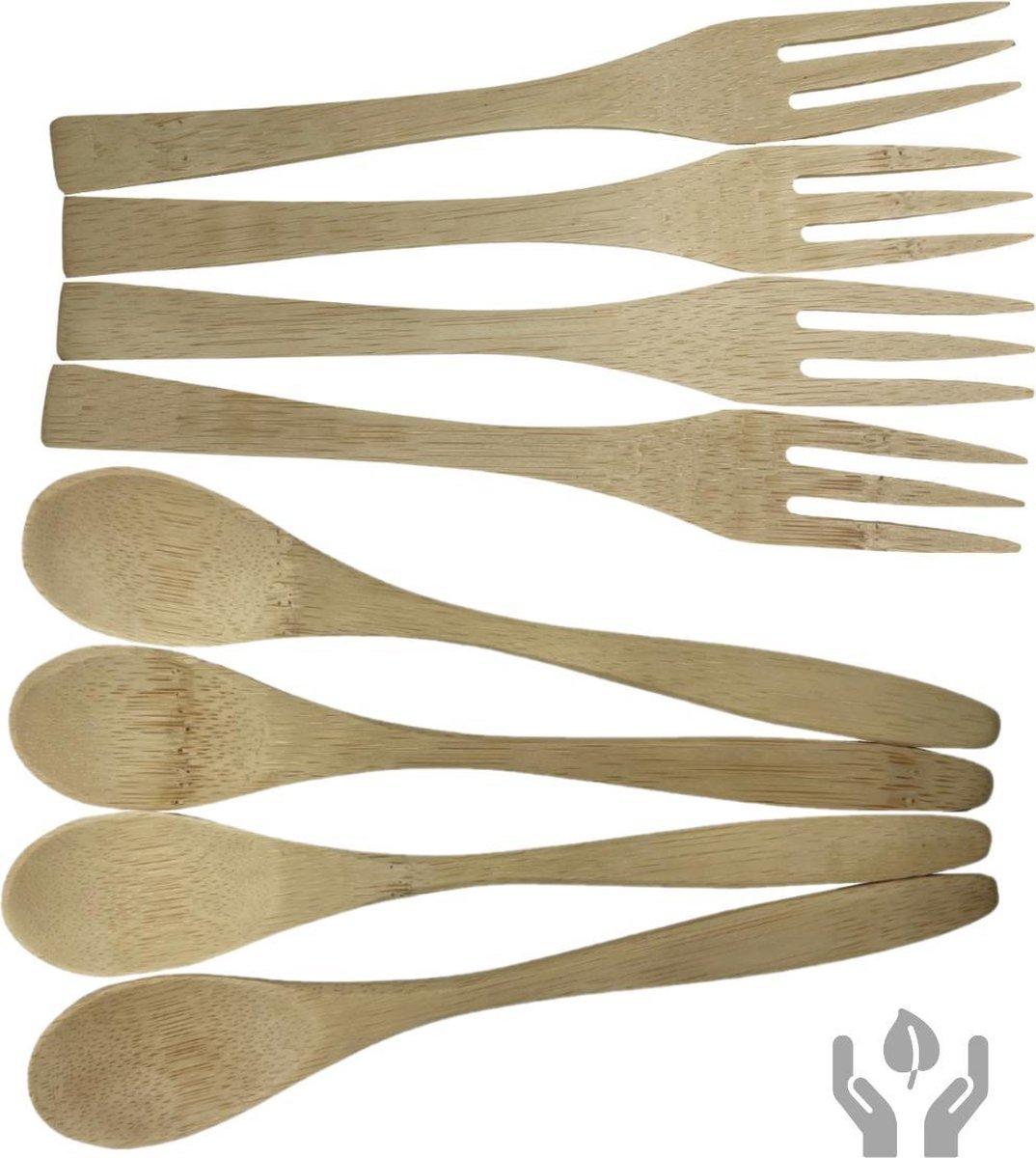 green-goose® Bamboe Bestekset | 4 x Lepel en 4 x Vork | 15 cm | 8 Stuks Bestek | Herbruikbaar Bestek